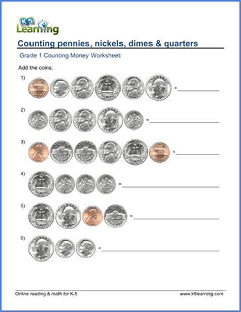 1st grade counting money worksheets free printable