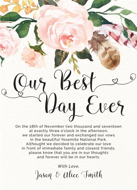 elopement announcement cards   day  printed