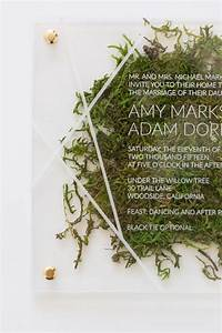 2017 wedding trend 36 edgy acrylic stationary ideas With paper moss wedding invitations