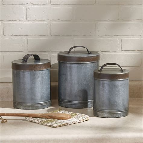 Galvanized Metal Kitchen Canisters (Set of 3)