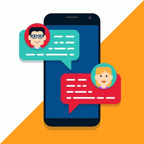 Mobile Chat by Mobile Phone Chat Illustration Vector Premium