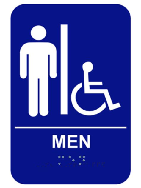 braille mens restroom sign handicap custom signs