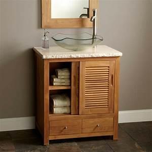 le meuble de salle de bains en teck With meuble de salle de bain en bois exotique