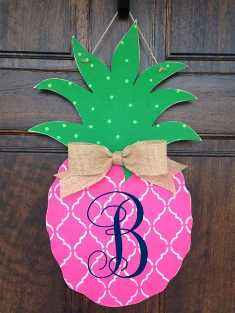 pink pineapple hand painted wooden door hanger