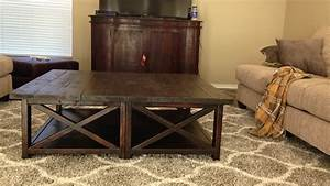 Ana white rustic x square oversized coffee table diy for Oversized rustic coffee table
