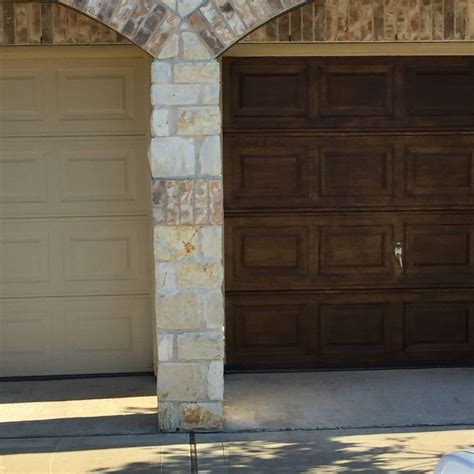 finally    garage doors  antique walnut gel