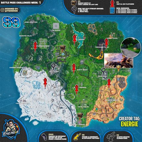 fortnite season  week  cheat sheet week  challenges
