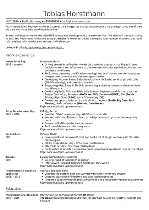 Sale Representative Resume Sle by Resume Exles By Real Sales Development