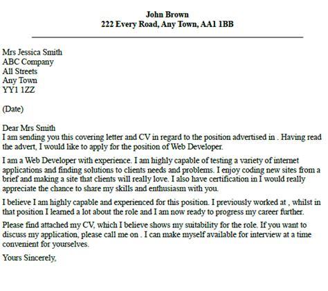 Sle Cover Letter For Java Developer by Cover Letter Web Developer Icover Org Uk