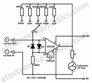 simple micro ampere meter circuit With frequency to voltage converter change your voltmeter to frequency meter