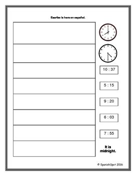 What Time Is It? ¿qué Hora Es? Worksheets For Reading & Writing Times In Spanish