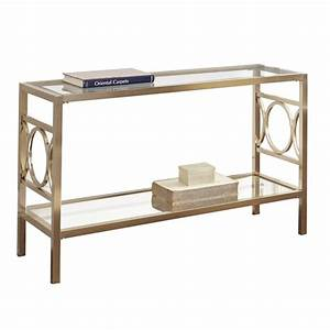 Steve Silver Olympia Glass Top Console Table in Gold