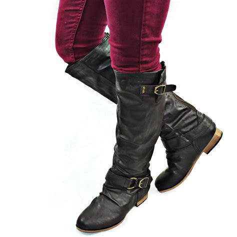 casual motorcycle brown women casual motorcycle riding fashion boots back