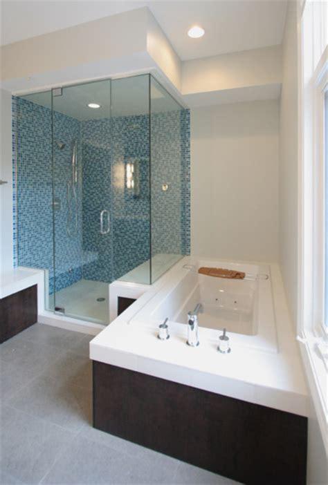 Modern Bathroom Ensembles by Clean Mosaic Tile Bathroom Design
