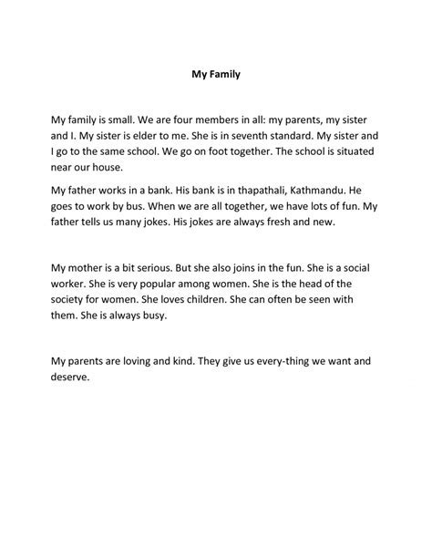 003 Short Essay On My Family In English L Example How To