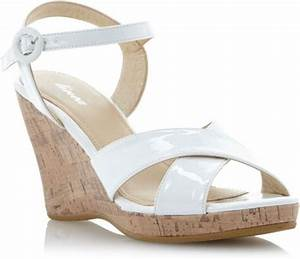 Linea Ankle Strap High Wedge Sandals in White | Lyst