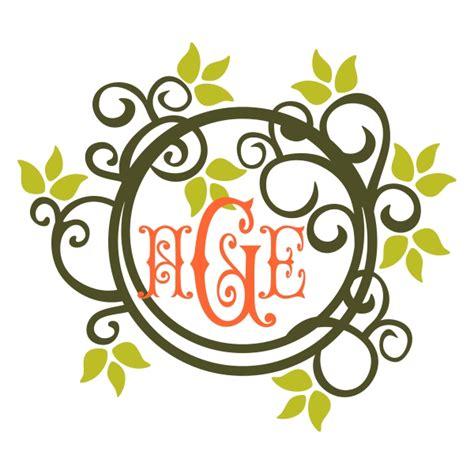 circle vine monogram cuttable frame