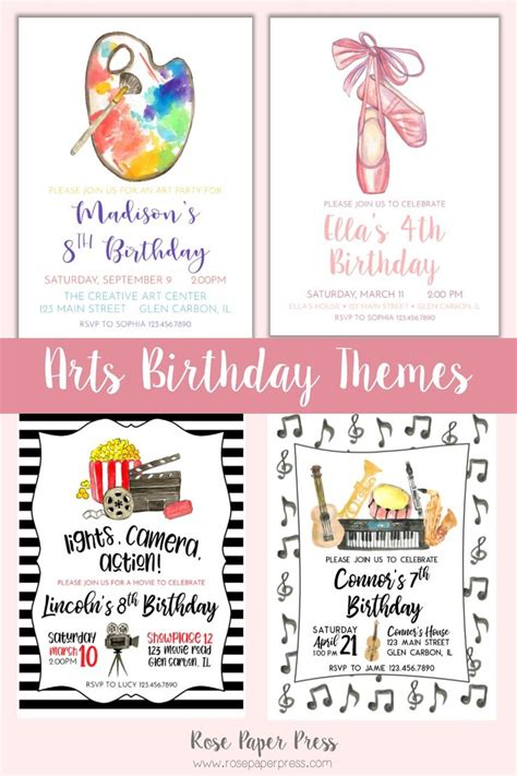 Creative Arts Birthday Ideas Invitations Moving