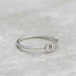 initial ring with hand stamped capital letter sterling With silver letter ring