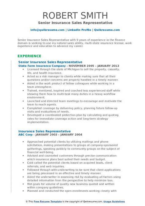 insurance sales representative resume sles qwikresume