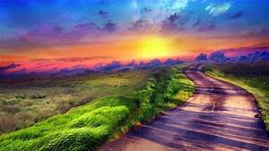 photo Manipulation, Landscape, Nature, Road, Field, Sunset, Grass, Clouds Wallpapers HD ...
