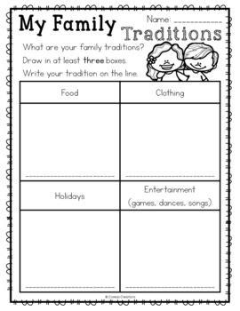 family traditions  coreas creations teachers pay teachers