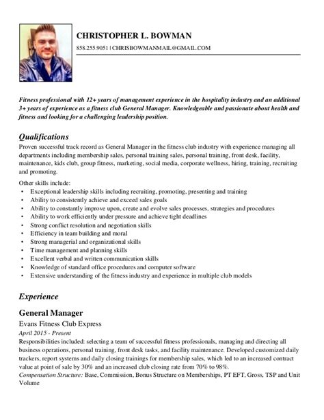 How To Write A Fitness Resume by Chris Bowman Fitness Resume