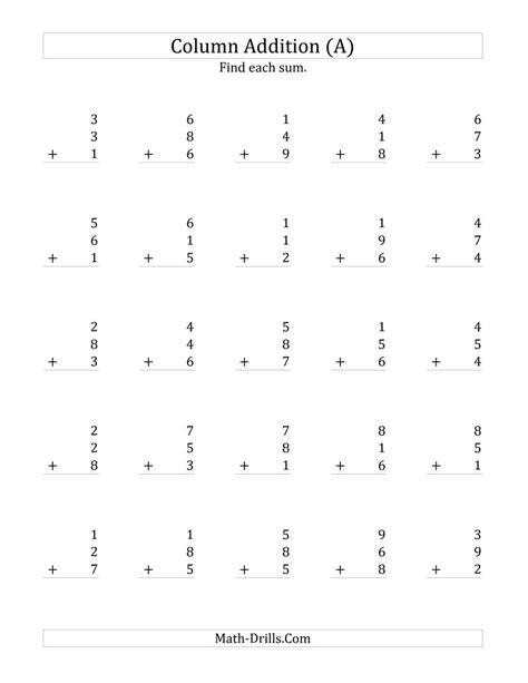 addition single digit worksheet single digit addition