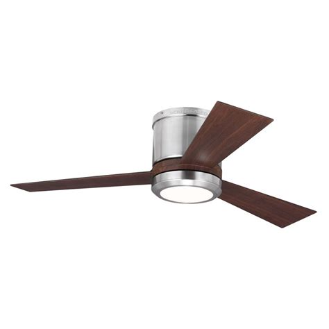 flush ceiling fans with led lights shop monte carlo fan company clarity 42 in brushed steel
