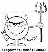 Devil Royalty Coloring Pages Pitchfork Grinning Holding Round Toon Hit Illustrations sketch template