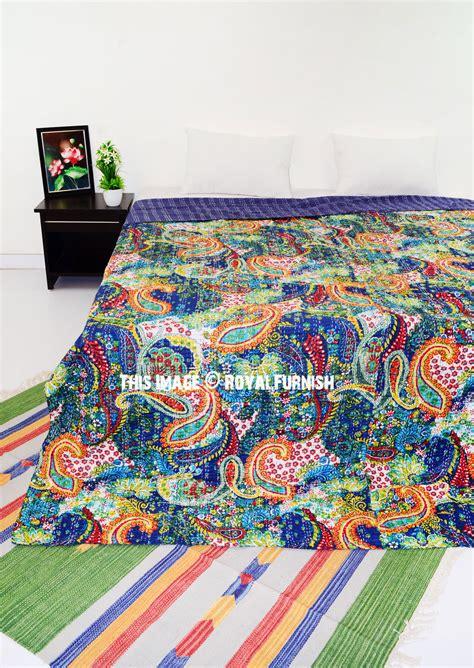 queen size blue multicolor paisley kantha quilt blanket