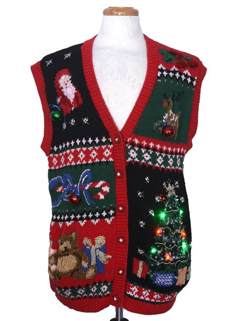 multicolor lightup hand embellished ugly christmas sweater