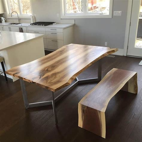 Live Edge Walnut Dining Table With A Waterfall Bench