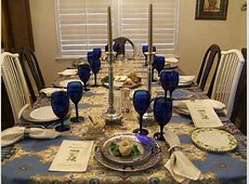 Beautiful Passover table setting Love the blue wine