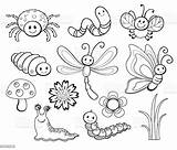 Coloring Bug Cartoon Line Vector Illustration Insect Butterfly Fly Bee Dragonfly sketch template