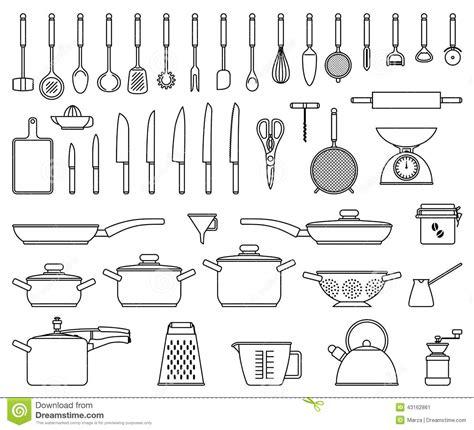 ustensiles de cuisine vocabulaire küchenwerkzeuge und gerät vektor abbildung illustration