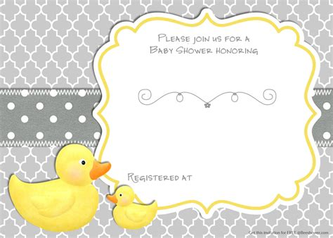 printable rubber duck baby shower invitation