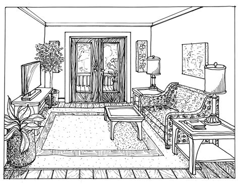 interior room sketch floor plan and one point perspective line drawing drawing hand perspective drawing