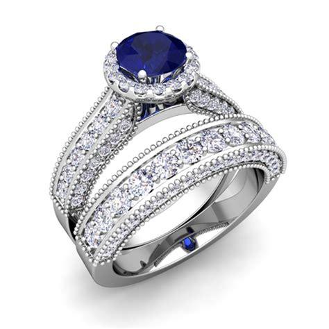 bridal platinum heirloom sapphire engagement ring 6mm