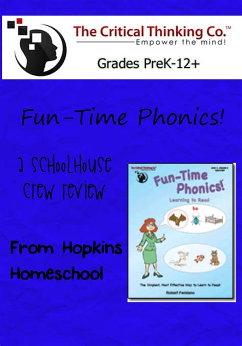 Funtime Phonics From The Critical Thinking Company  A Schoolhouse Crew Review  Hopkins Homeschool