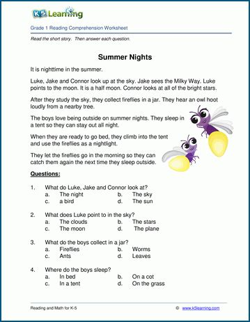 summer nights grade  childrens story  learning