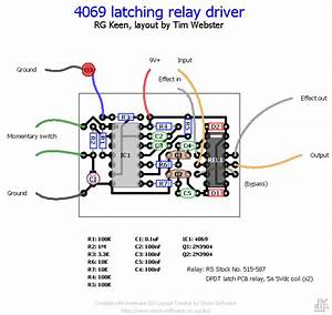 Printed Circuitboard Layout For 4069 Latching Relay Switching Schematic By R G Keen