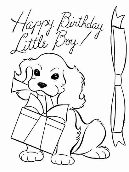 Coloring Happy Dog Present Birthday Pages Drawing