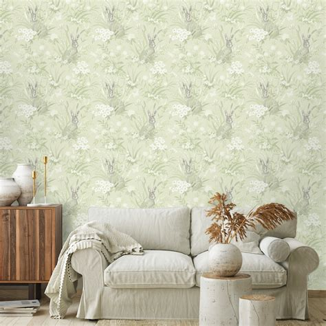 holden decor aayla hares pale green wallpaper