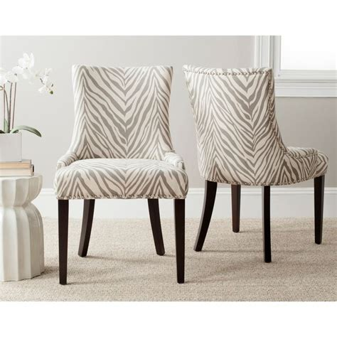 safavieh en vogue dining lester grey zebra dining chairs
