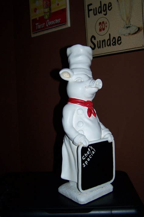 large pig chef statue great catering display  inches tall