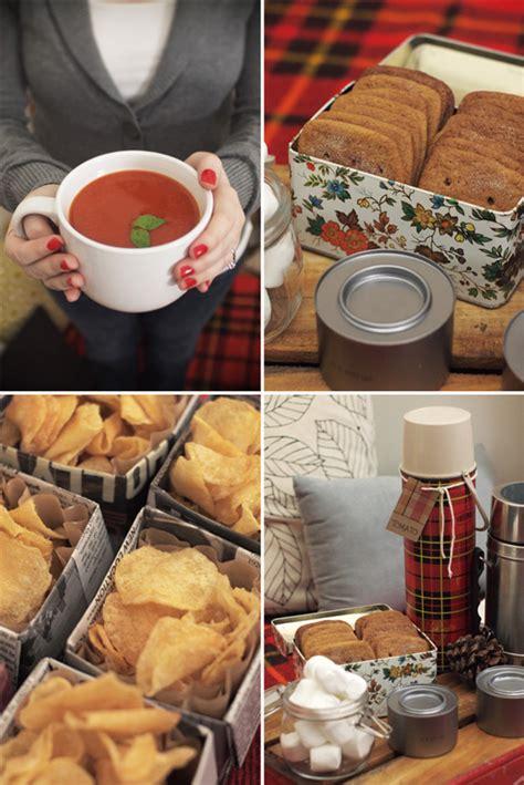 wintry indoor picnic  subtle revelry