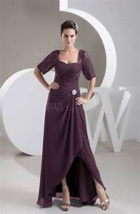 plum with sleeves bridesmaid dress chiffon classy apple With full figure wedding guest dresses