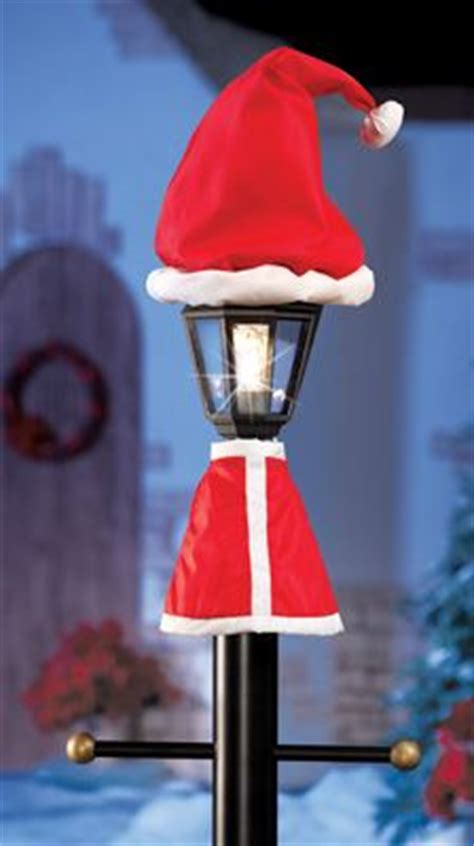 happy holidays solar striped lamp post  red light outdoor