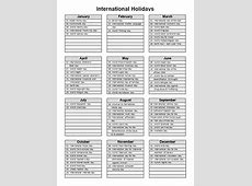 2018 International Holidays World Holiday 2018